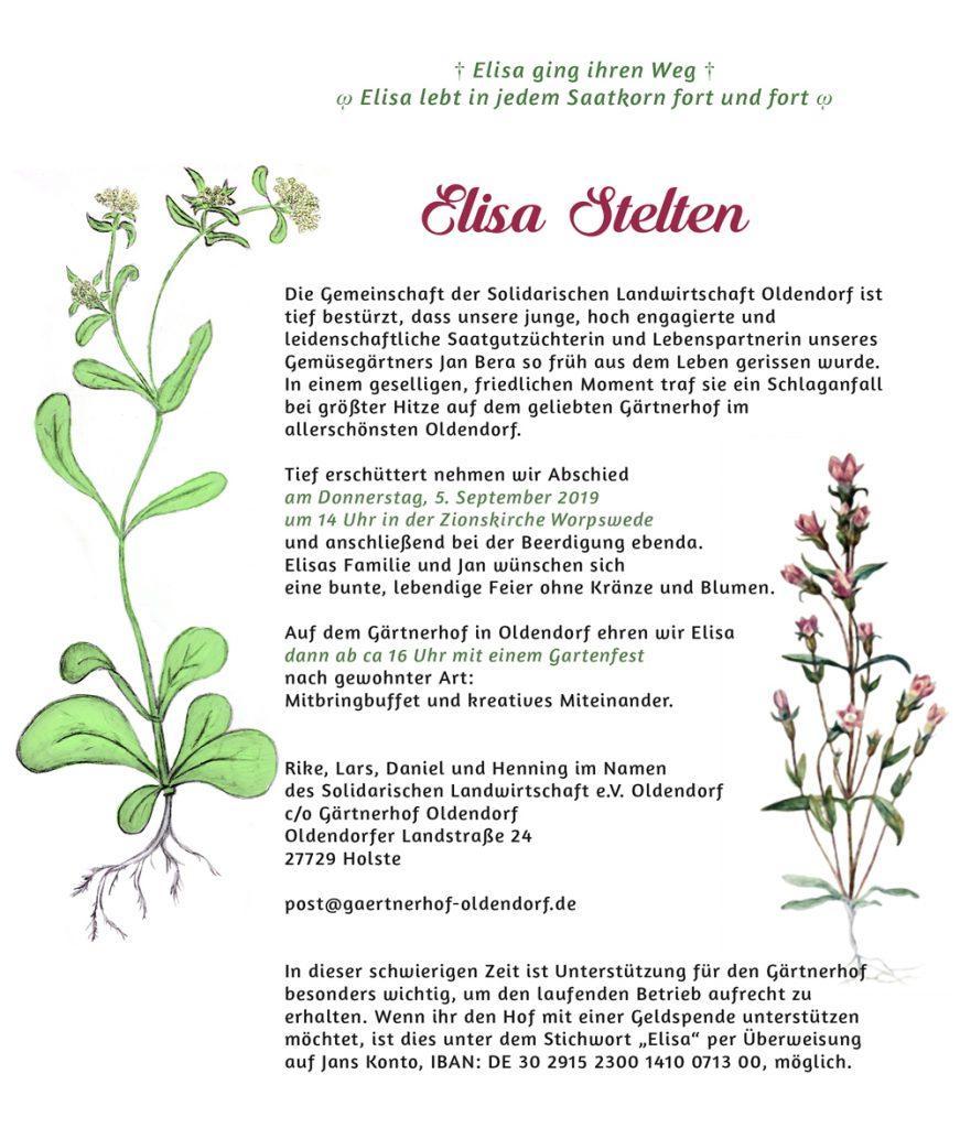 Traueranzeige der SoLawi für Elisa Stelten